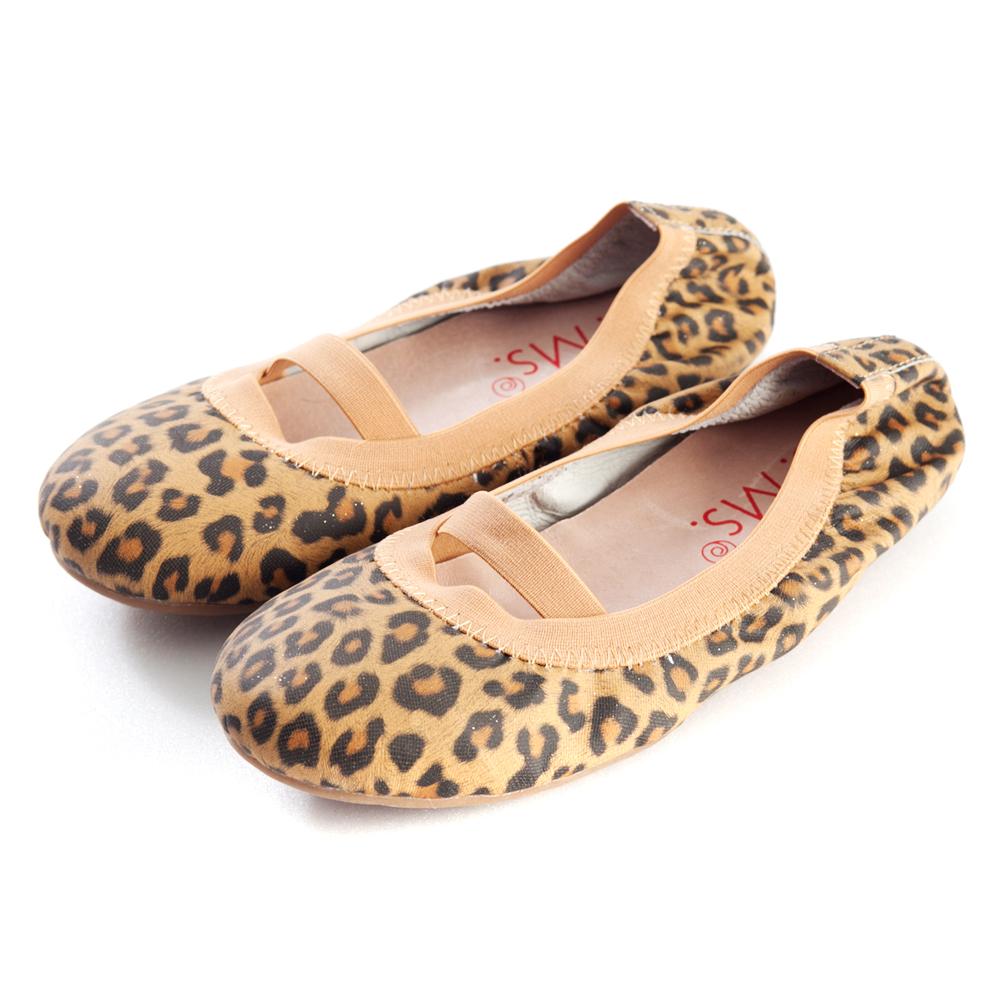 G.Ms.童鞋-羊皮鬆緊口可攜式娃娃鞋(附鞋袋)-豹紋