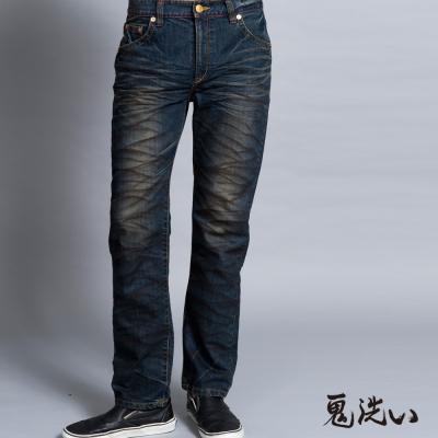 鬼洗 BLUE WAY 側爆裂鬼家徽繡花中腰直筒褲