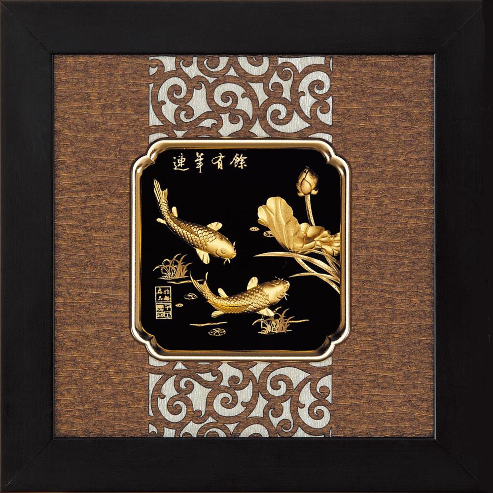 開運陶源 金箔畫 純金 *小古典中國風系列*鯉魚【連年有餘】...24x24cm