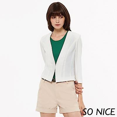 SO NICE都會俐落仿棉麻短版外套