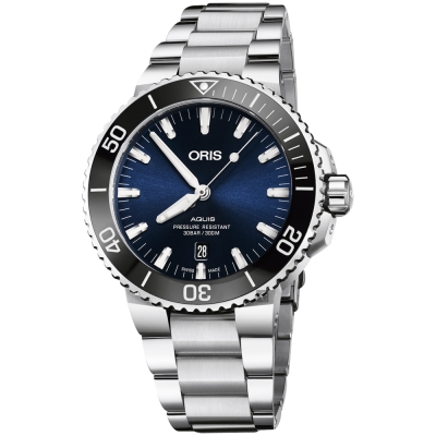 Oris豪利時 Aquis 時間之海潛水 300 米日期機械錶-藍x銀/ 43 . 5 mm