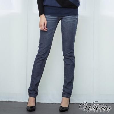 Victoria 低腰配線水洗個性窄管褲-女-深藍
