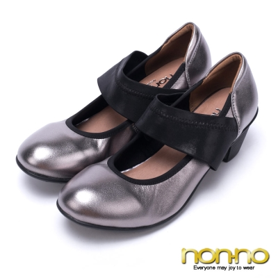 nonno-輕舞名伶-一字寬版彈性帶粗跟鞋-銀
