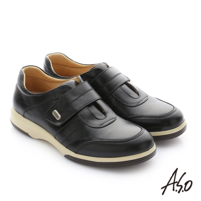 A.S.O 頂級氣墊增高寬楦 牛皮奈米魔鬼氈休閒鞋 黑色