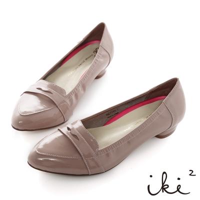 iki2輕恬時尚-質感羊漆皮莫卡辛低跟鞋-紫藕