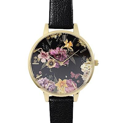 Olivia Burton 英倫復古手錶 幽暗花卉啞光黑錶面 金框黑色真皮錶帶38mm