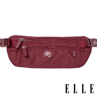 ELLE 法式優雅時尚 旅行專用防搶防偷腰包/收納包/票券隨身包-酒紅