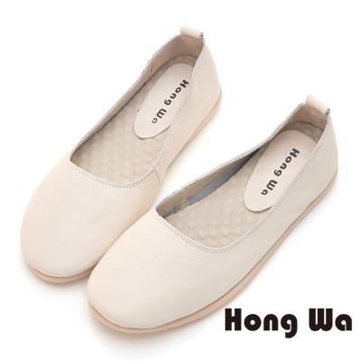 Hong Wa 潮流率性牛皮簡約款包鞋 - 米