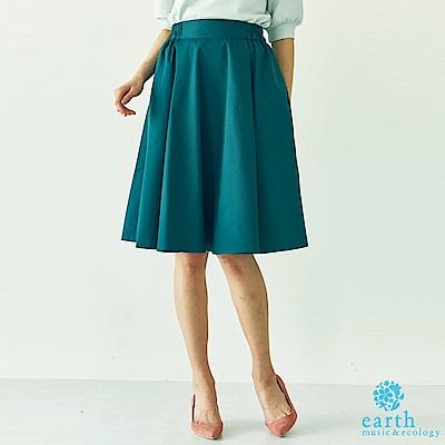 earth music 鬆緊腰素面及膝裙