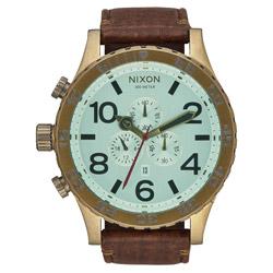 NIXON 51-30 潛龍諜影運動腕錶-復古金框x淺藍x咖啡色皮帶/51mm