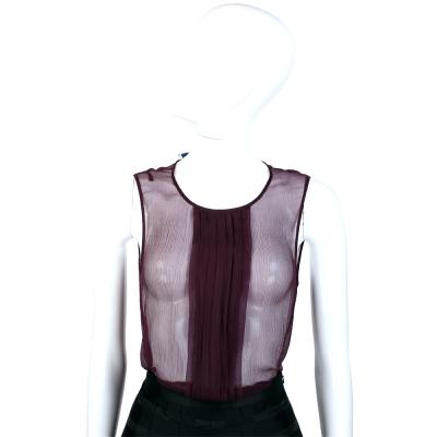 PRADA 紫色抓褶絲質無袖上衣