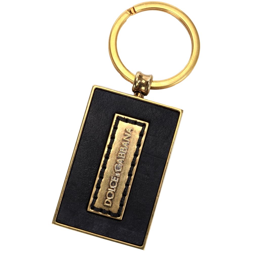 DOLCE & GABBANA 方型牛皮鑰匙圈(黑色)