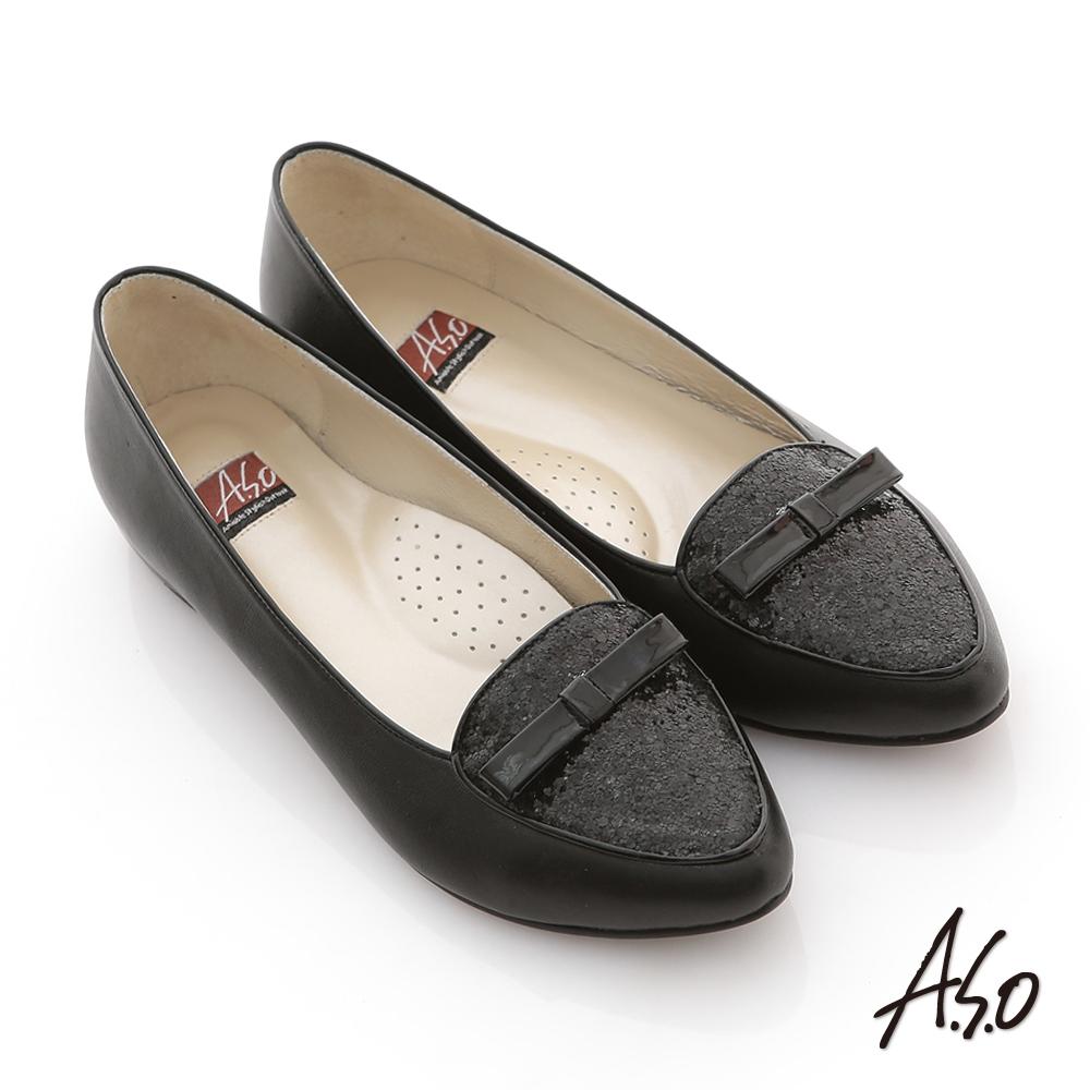 A.S.O 玩美彈麗 全真皮金蔥結飾窩心平底鞋 黑