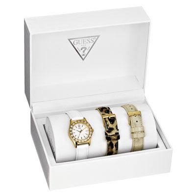 GUESS 晶彩動人時尚晶鑽套錶組-白x金框/28mm