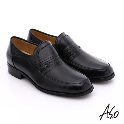 A.S.O 超輕雙核心 柔軟真皮直套式奈米紳士鞋 黑色