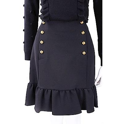 PINKO 荷邊下襬設計雙排釦黑色短裙