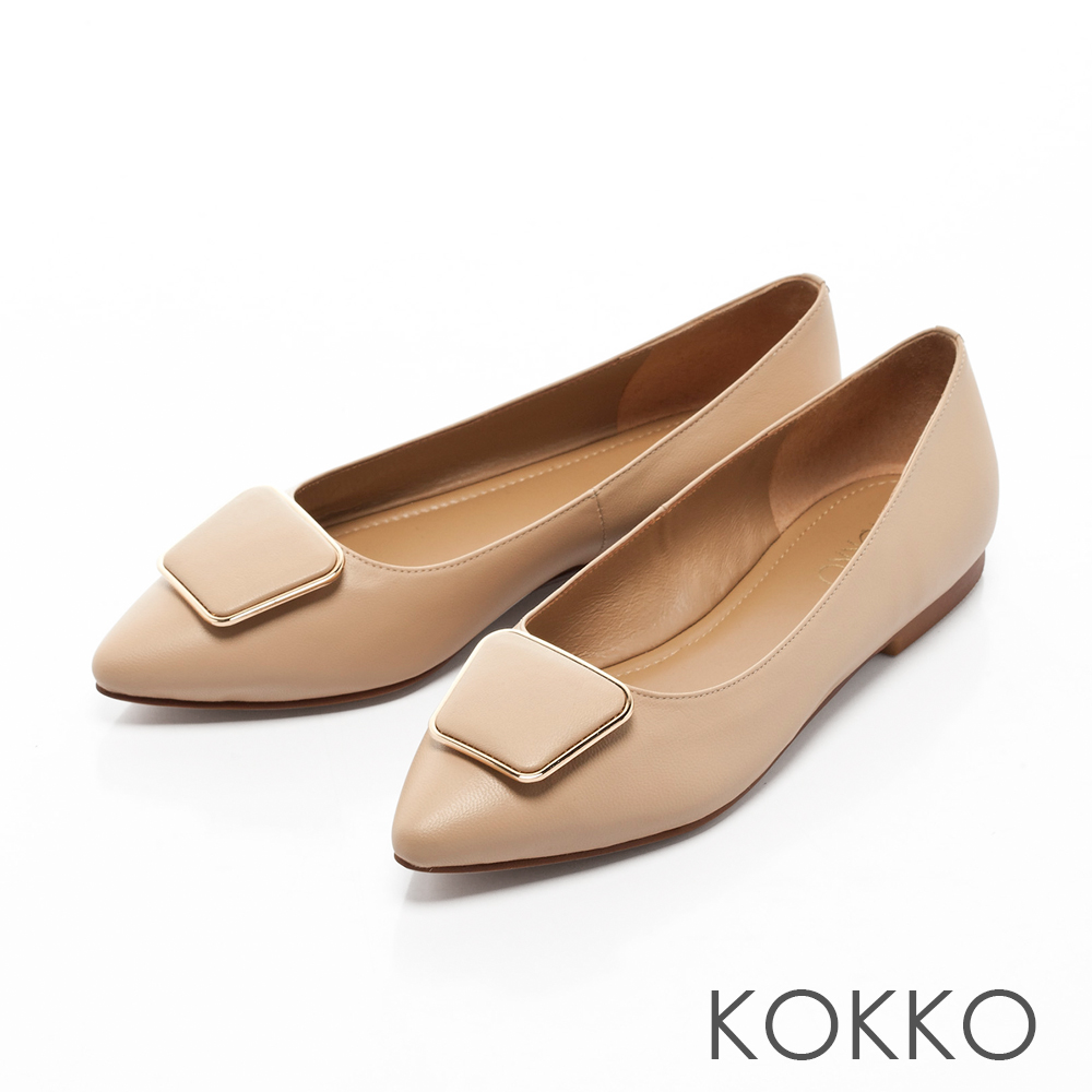 KOKKO -通勤蜜糖真皮方扣尖頭平底鞋-簡約杏