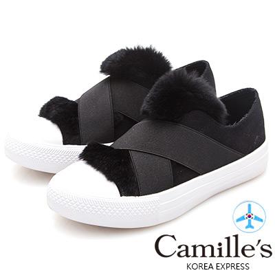 Camille's 韓國空運-交叉鬆緊兔毛帆布懶人休閒鞋-黑色