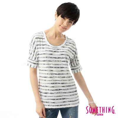SOMETHING-T恤-個性斑駁條紋T恤-女-白