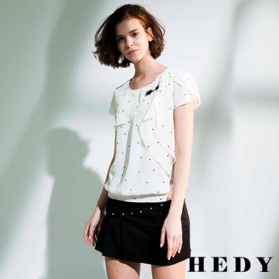 Hedy赫蒂 點點不規則層次垂袖上衣(白色)