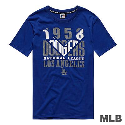 MLB-洛杉磯道奇隊V字印花短T-藍 (男)