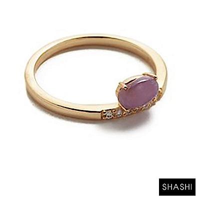 SHASHI 紐約品牌 TAYLOR 紫水晶戒指 鑲鑽定情戒 925純銀鑲18K金