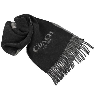 COACH 鬚鬚大LOGO造型長型羊毛圍巾(黑灰)