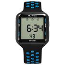 JAGA 捷卡 方型電子計時碼錶鬧鈴防水透氣運動 矽膠手錶-黑藍色/38mm