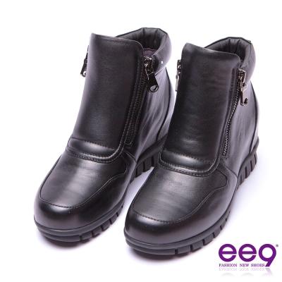 ee9 率性焦點金屬扣環雙拉鏈素面百搭踝靴 黑色