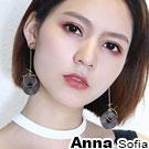 AnnaSofia 幾何型波浪圓木墬 大型耳針耳環(咖木系)