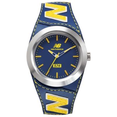 New Balance 574系列 NB LOGO皮革時尚腕錶-藍黃/43mm