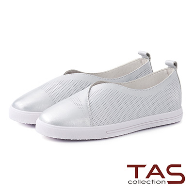 TAS 金屬風交叉沖孔牛皮休閒懶人鞋-閃耀銀