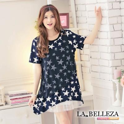 中大尺碼 假二件拼接雪紡滿版星星上衣-La Belleza