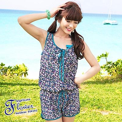 【AngelLuna日本泳裝】 復古小碎花三件式比基尼泳衣-綠色