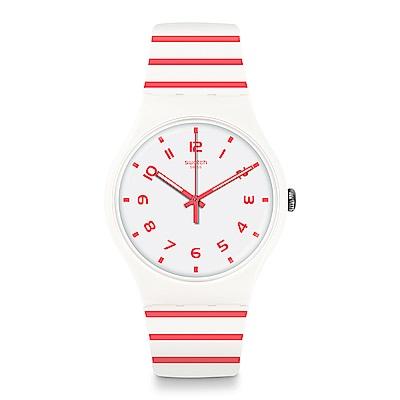 Swatch 情迷地中海  REDURE 亮紅條紋手錶