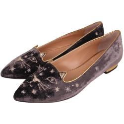 Charlotte Olympia  天鵝絨貓咪星星圖案尖頭平底鞋(咖啡色)