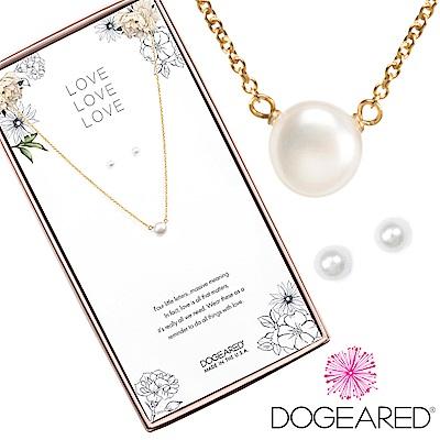 Dogeared love珍愛系列 小白珍珠金色許願項鍊X白珍珠金色耳環 套組