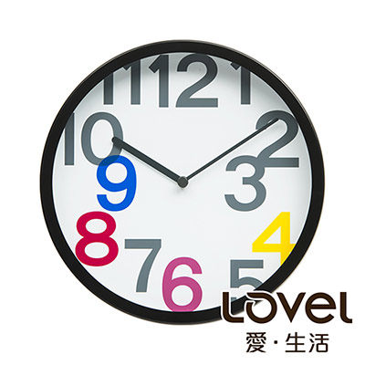 Lovel 25cm普普風膠框靜音時鐘(P2507B-P)