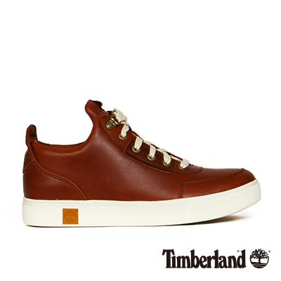 Timberland-男款咖啡色皮革綁帶高筒休閒鞋