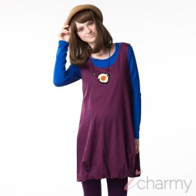 愛俏咪I charmy 優雅紫花苞造型背後綁帶側邊拉鍊背心洋裝