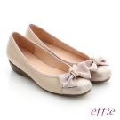 effie 舒適通勤 真皮蝴蝶結彈力圓頭低跟鞋 粉紅色