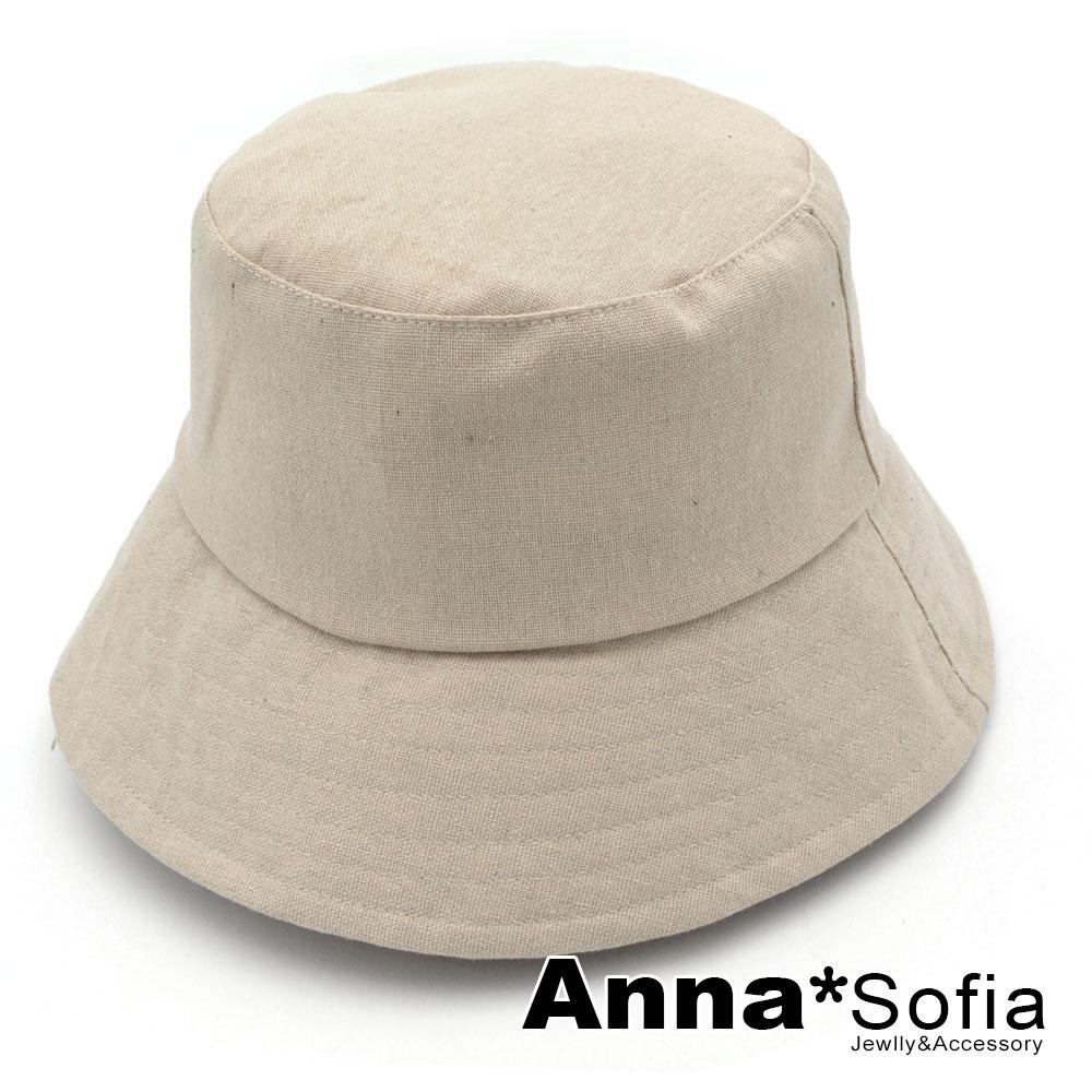 【出清3件5折】AnnaSofia 古著單色圈線 遮陽防曬漁夫帽盆帽(麻本色系)