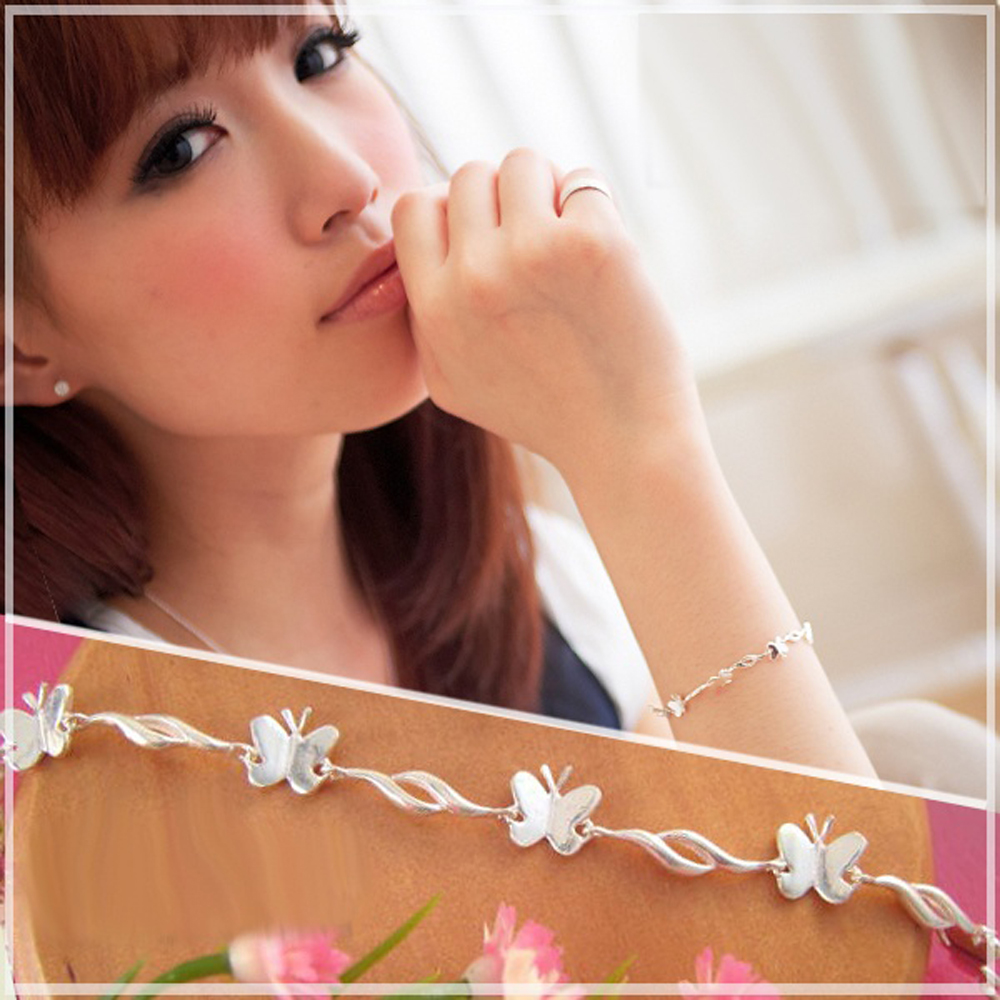 維克維娜 漂亮蝴蝶。細緻立體亮面蝴蝶手鍊。925純銀手鍊