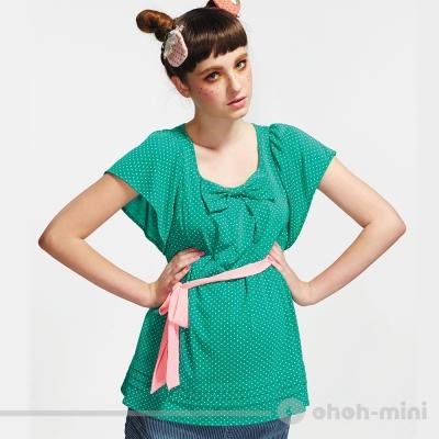 【ohoh-mini 孕婦裝】清新亮麗點點蝴蝶結寬袖孕婦上衣(四色)