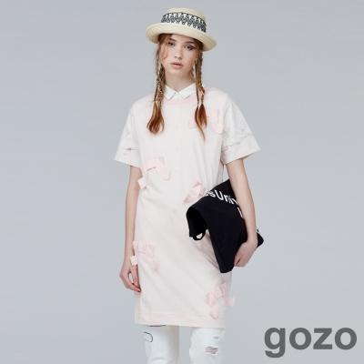 gozo摺紙風拼接長版洋裝(二色)-動態show