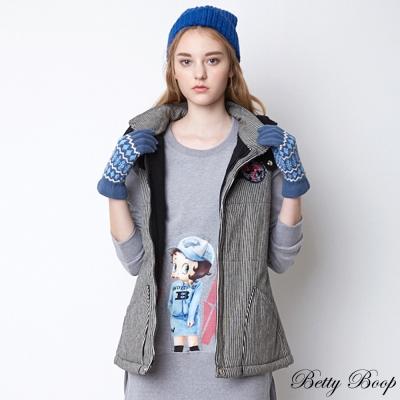 Betty Boop 條紋針織拼接牛仔鋪棉連帽背心(共二色)