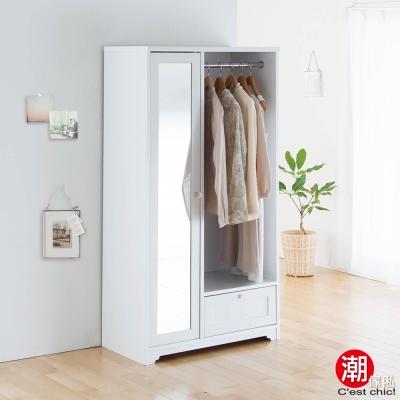 Sato_ANRI小日子收納鏡櫃‧幅80cm-樸素白