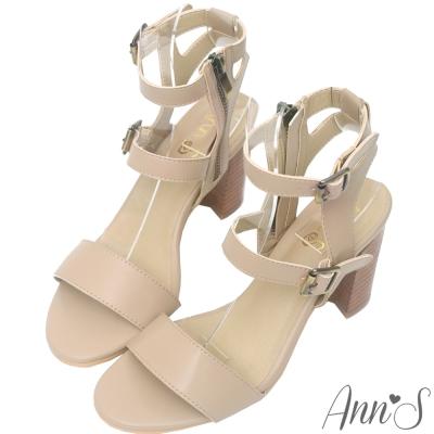 Ann'S香榭街道-造型後空木質粗跟涼鞋-杏