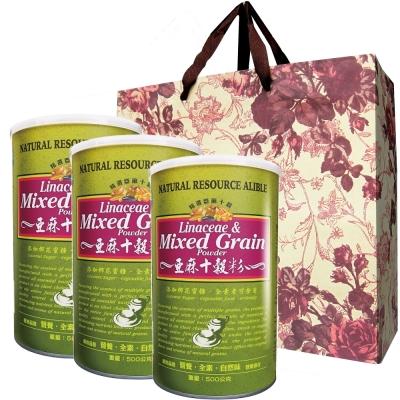台灣綠源寶 亞麻十穀粉3罐新春提袋組(500g/罐)