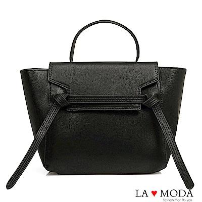 La Moda 優雅百搭耐刮十字紋肩背斜背手提包(黑)
